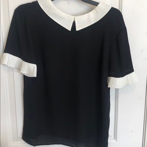 Black/ivory blouse, Sz M
